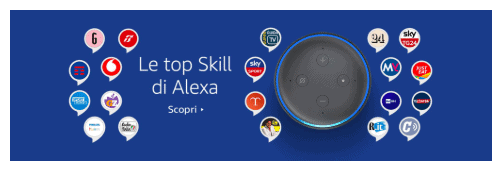 An Amazon Echo Dot and different Alexa Skill Icons from different services available in Italy