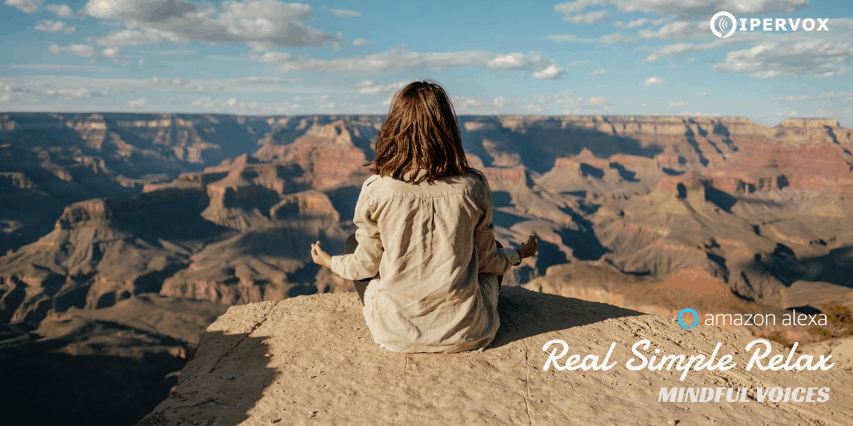 Real Simple Relax, Mindful voices Alexa Skill and a young girl meditating on a cliff in the nature