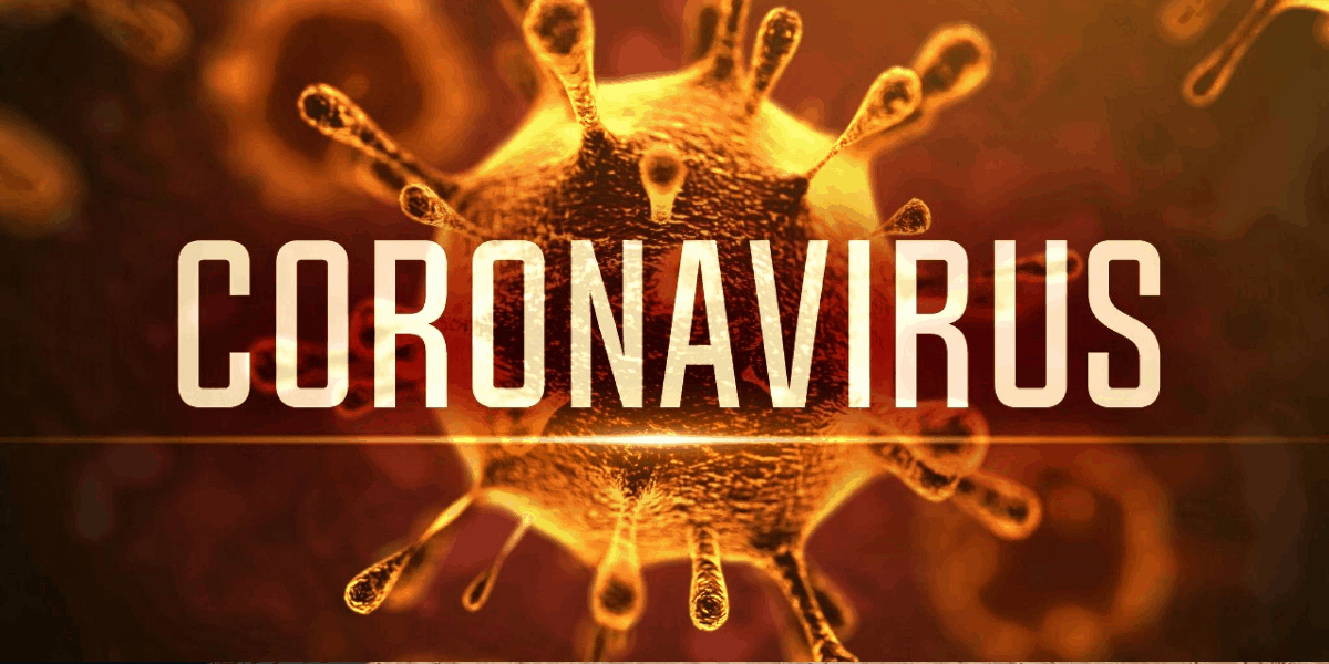 Coronavirus and the a virus image as the background