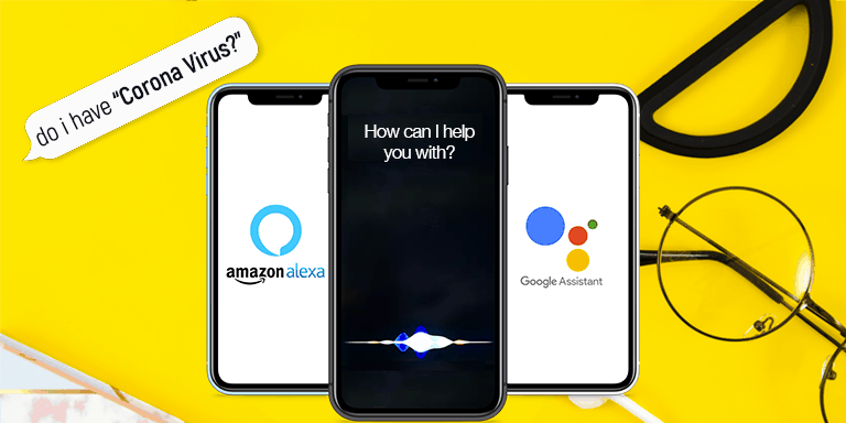 Siri COVID-19 assessment and Do I have Corona Virus and three smartphone with different voice assistants activated like Amazon Alexa, Apple Siri and Google Assistant