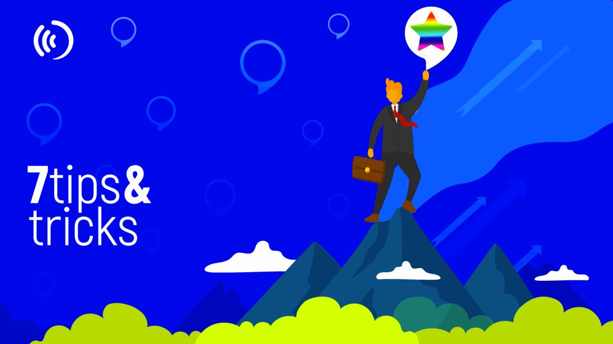 7 tips and tricks and a business man standing in the top of a mountain about how to promote your Alexa Skill