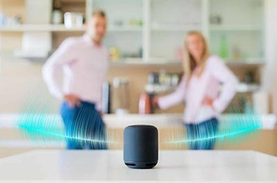 Couple interacting with a voice enabled smart speaker