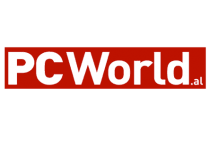 PCWorld.al official logo with a white text and a red background